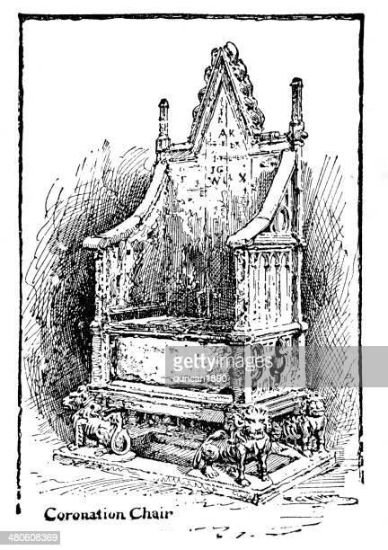 coronation chair - corona zon stock illustrations