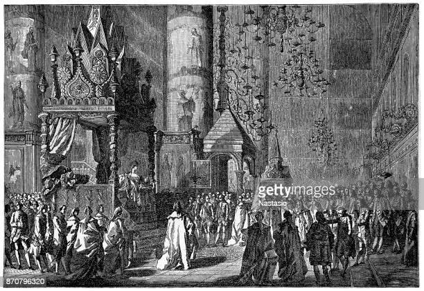 coronation of catherine the great of russia - corona zon stock illustrations
