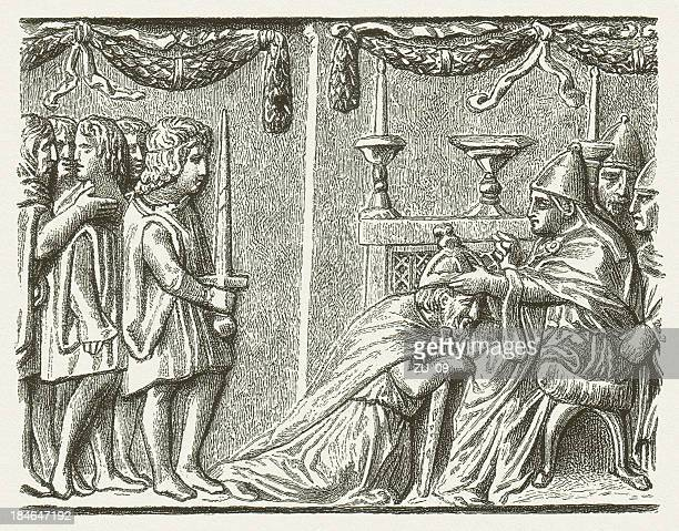 coronation of emperor sigismund by pope eugene iv in 1433 - st. peter's basilica the vatican stock illustrations