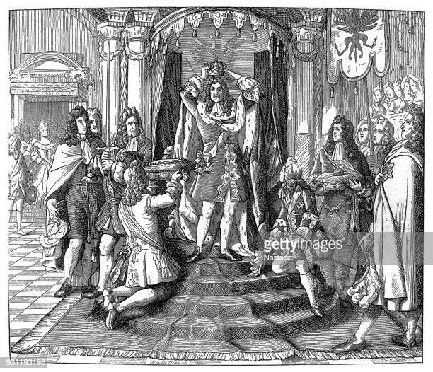 coronation of frederick i, king of prussia - corona zon stock illustrations