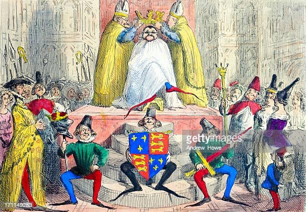 coronation of henry iiii (fourth) illustration - corona zon stock illustrations