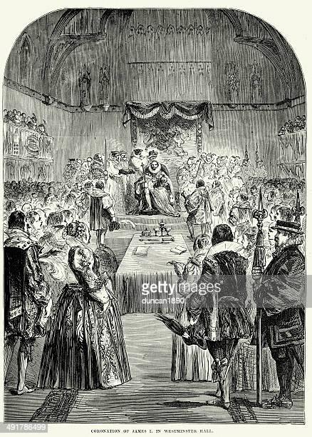 coronation of james i - 1600s stock illustrations