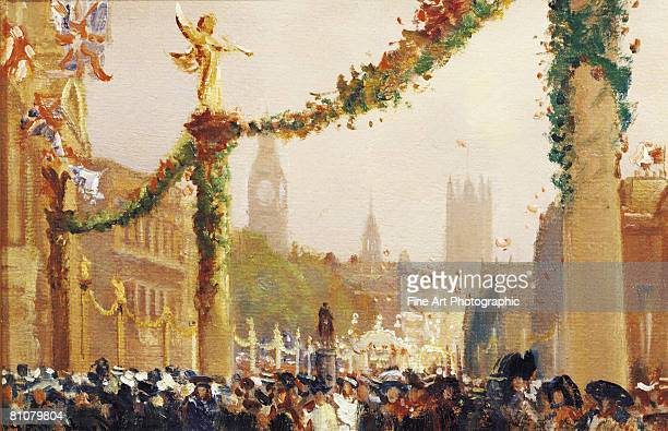 coronation of king george v, whitehall, london, england - all european flags stock illustrations