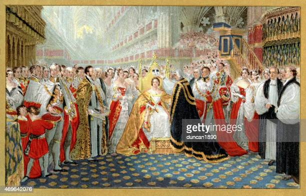 coronation of queen victoria - queen royal person stock illustrations, clip art, cartoons, & icons
