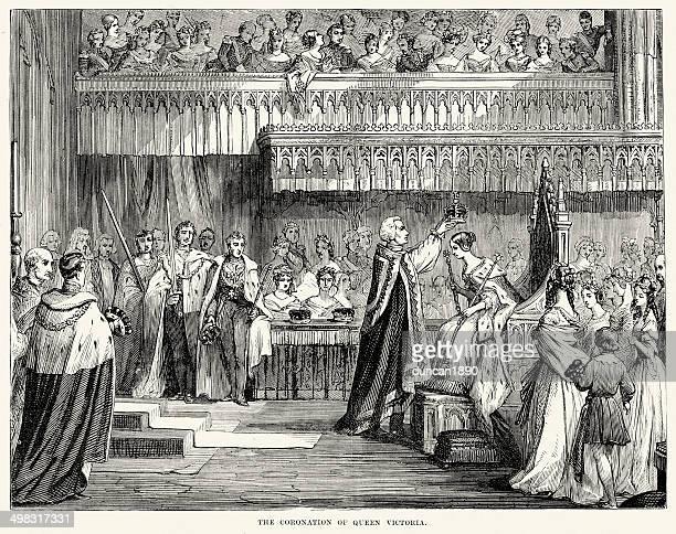 coronation of queen victoria - corona zon stock illustrations