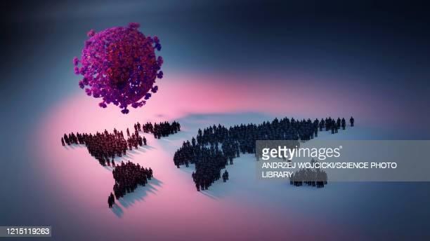 coronavirus pandemic, conceptual illustration - coronavirus stock illustrations
