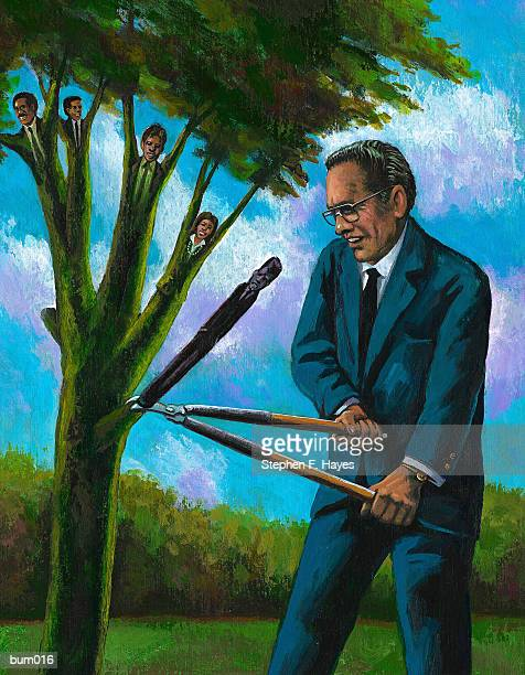 corporate cutbacks - hedge clippers stock illustrations, clip art, cartoons, & icons