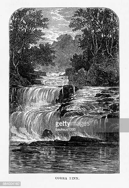 corra linn falls on river clyde victorian engraving, circa 1840 - clyde river stock illustrations, clip art, cartoons, & icons
