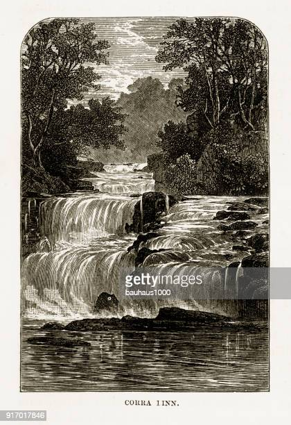 corra linn falls on the river clyde victorian engraving, circa 1840 - clyde river stock illustrations, clip art, cartoons, & icons