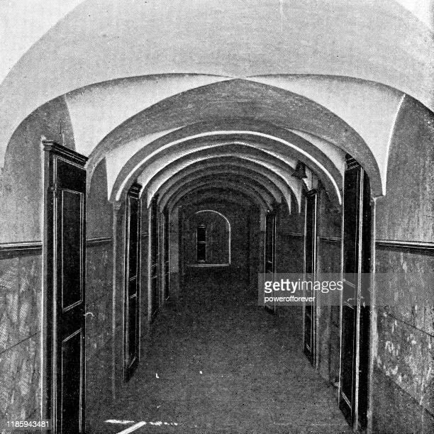 スイス・ヴァレー州の聖ベルナール・ホスピスの回廊 - 19世紀 - ホスピス点のイラスト素材/クリップアート素材/マンガ素材/アイコン素材