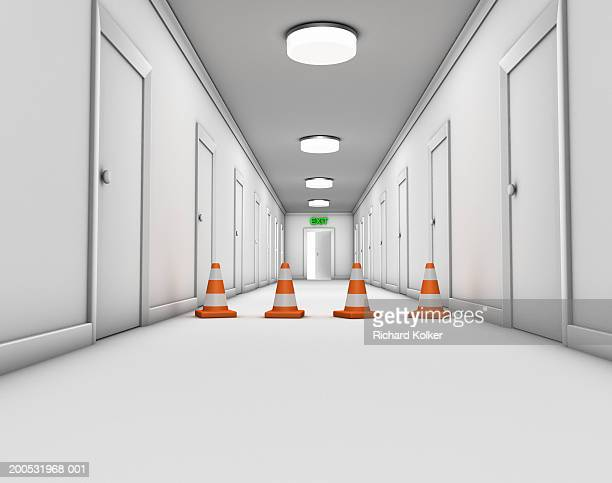 corridor with open door at end and four traffic cones - corridor stock illustrations, clip art, cartoons, & icons