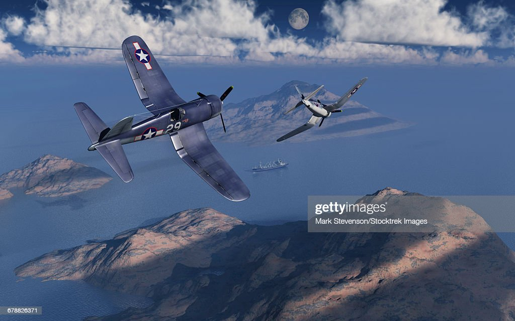 F4U Corsairs about to attack a Japanese cargo ship during World War II. : stock illustration