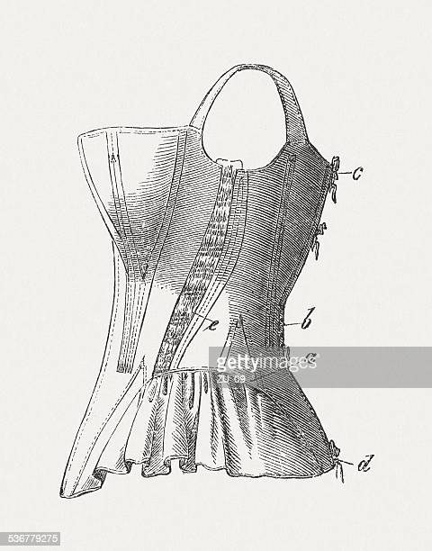 corset (1855), wood engraving, published in 1883 - en búsqueda stock illustrations