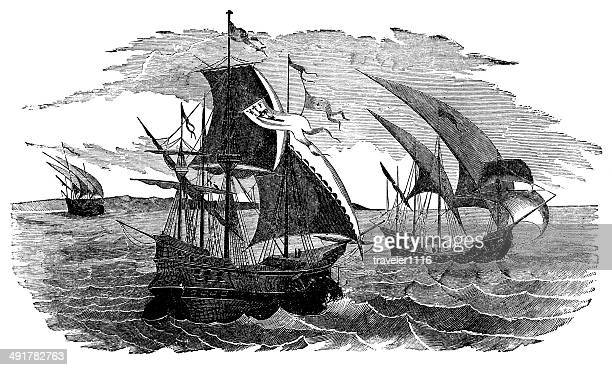 cortez's fleet sailing to mexico - spanish and portuguese ethnicity stock illustrations