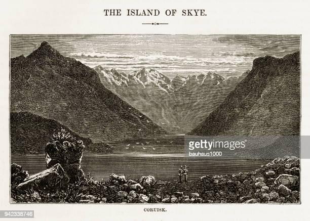 ilustraciones, imágenes clip art, dibujos animados e iconos de stock de coruisk, isla de skye en escocia, hébridas grabado victoriano, 1840 - valle