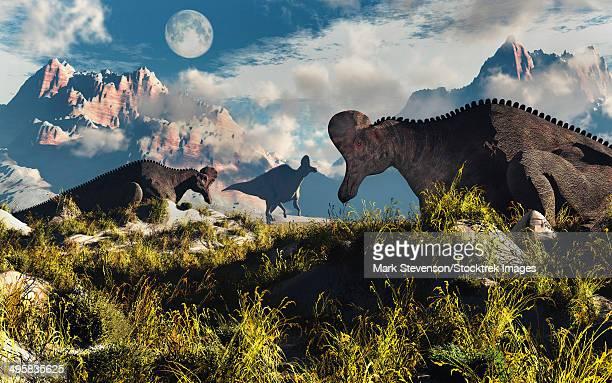 corythosaurus nesting ground set during the cretaceous period. - corythosaurus casuarius stock illustrations, clip art, cartoons, & icons