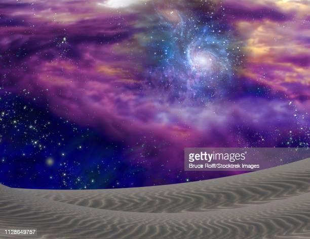 ilustraciones, imágenes clip art, dibujos animados e iconos de stock de cosmic landscape - galaxiaespiral