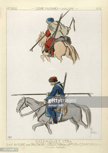 cossack soldiers, russian military cavalry costumes, 18th century - cavalry stock illustrations