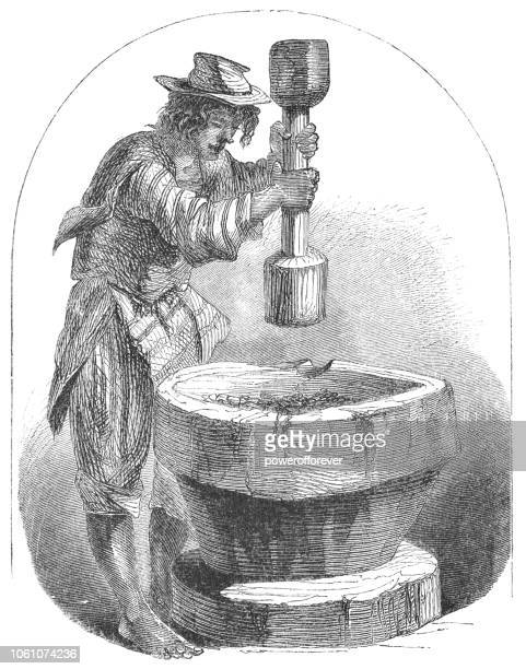 costa rican man grinding coffee by hand (19th century) - costa rica stock illustrations, clip art, cartoons, & icons