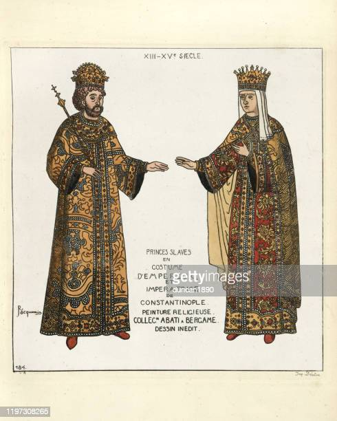 costume of a byzantine emperor and empress - medieval queen crown stock illustrations