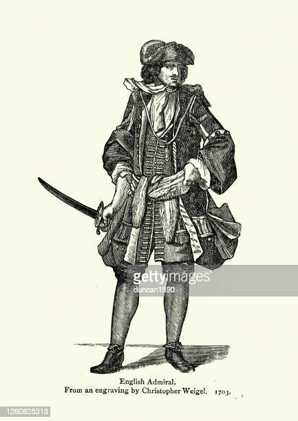 costume of a english admiral, early 18th century fashion - pirate criminal stock illustrations