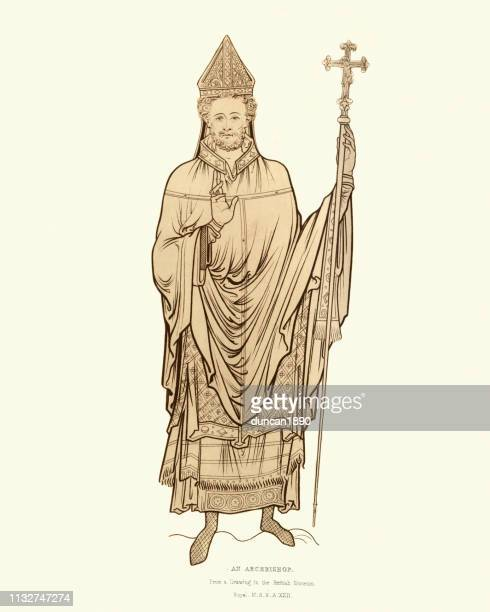 costume of a medieval archbishop late 12th century - bishop clergy stock illustrations, clip art, cartoons, & icons