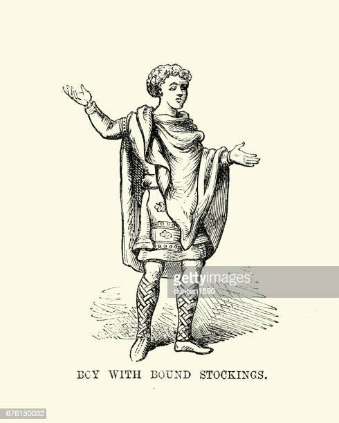 Costume of an Anglo Saxon boy wearing bound stockings