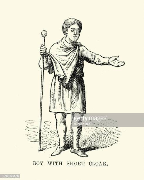 Costume of an Anglo Saxon boy wearing short cloak