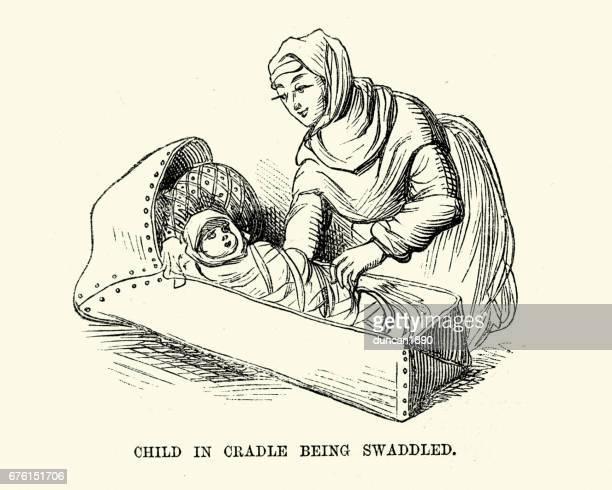 ilustraciones, imágenes clip art, dibujos animados e iconos de stock de disfraz de medieval de la madre y el niño está envuelto - baby blanket