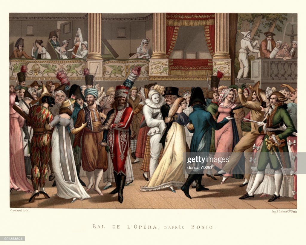 Costume party at the Opera, French, late 18th Century : stock illustration