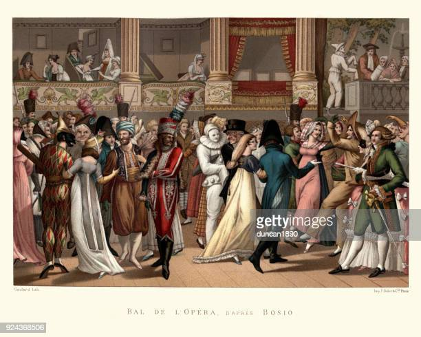costume party at the opera, french, late 18th century - 18th century stock illustrations