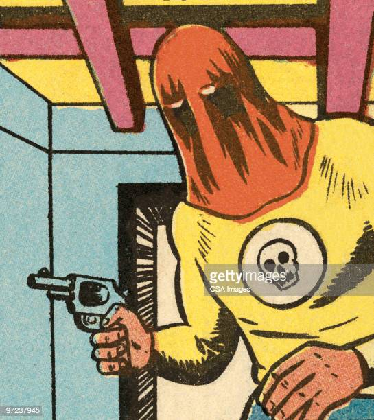 costumed man sneaking - hood clothing stock illustrations