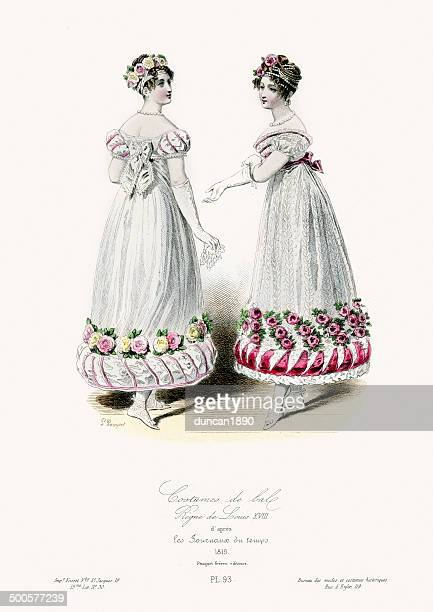 costumes de bal - 19th century fashion - dress stock illustrations