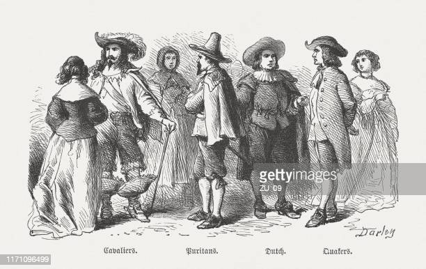 costumes of american settlers, 17th century, wood engraving, published 1876 - quaker stock illustrations