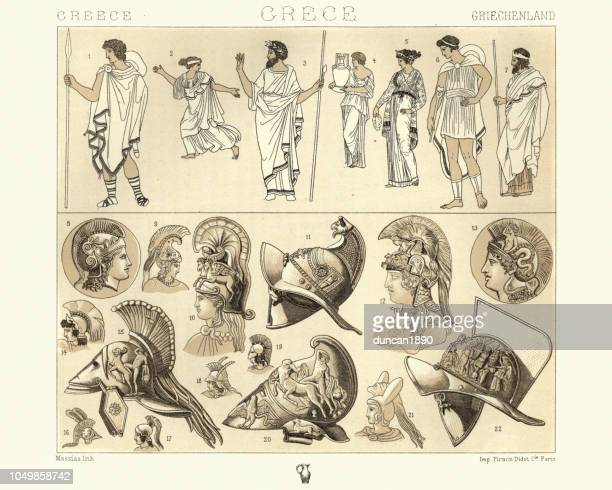 costumes of ancient greece, tunic, cloaks and helmets - ancient greece stock illustrations, clip art, cartoons, & icons