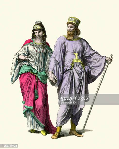 costumes of ancient persia, noble man and woman, history fashion - historical clothing stock illustrations