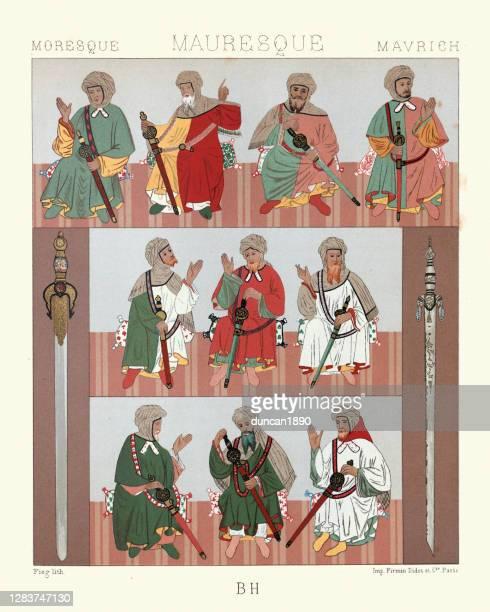ilustraciones, imágenes clip art, dibujos animados e iconos de stock de disfraces de jefes moriscos, norte de africa, espadas, historia de la moda - moruno