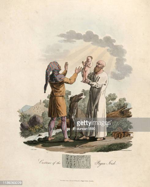 costumes of the pagan irish, druid blessing a new baby - hood clothing stock illustrations