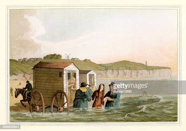 costumes of yorkshire - sea bathing - bridlington stock illustrations