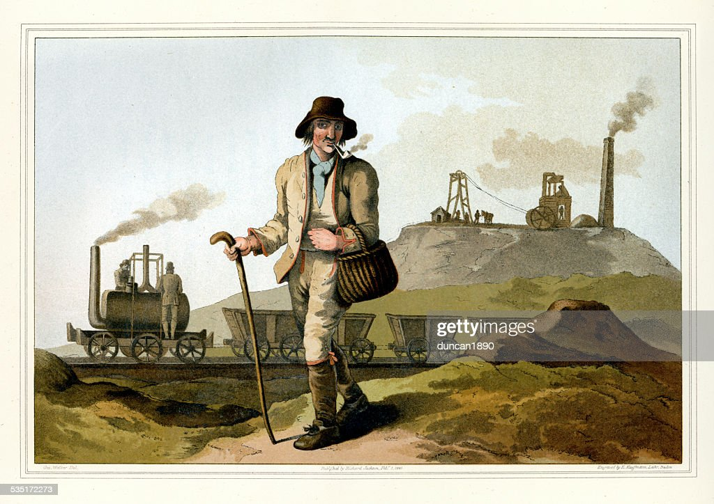 Costumes of Yorkshire - The Collier or Coal Miner : stock illustration