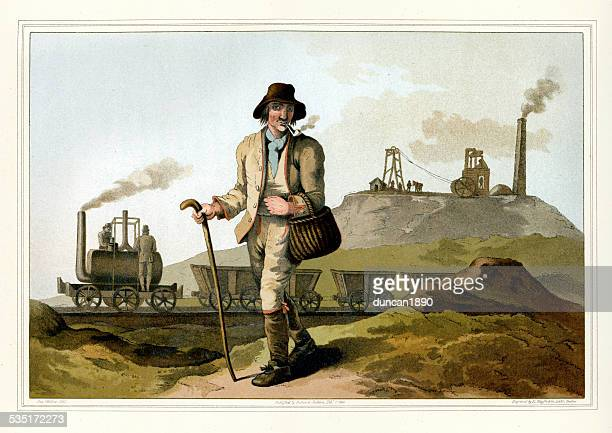 costumes of yorkshire - the collier or coal miner - industrial revolution stock illustrations