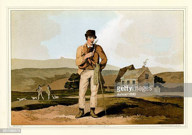costumes of yorkshire - the moor guide - pipe smoking pipe stock illustrations, clip art, cartoons, & icons