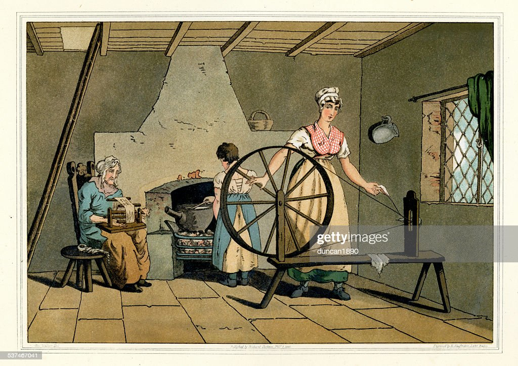 Costumes of Yorkshire - Woman Spinning Wool : stock illustration