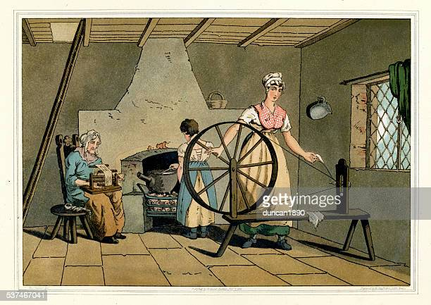 Costumes of Yorkshire - Woman Spinning Wool