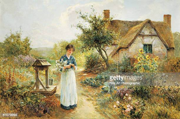 a cottage garden - one young woman only stock illustrations