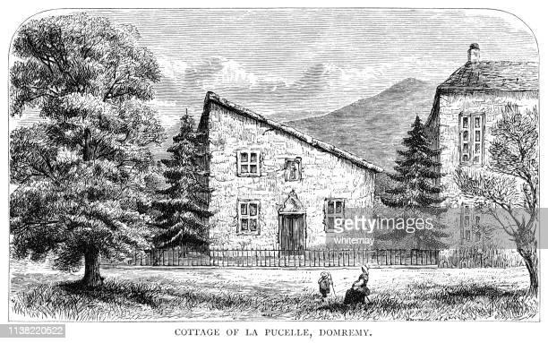 cottage of domrémy-la-pucelle, birthplace of jeanne d'arc, vosges, france - lorraine stock illustrations, clip art, cartoons, & icons