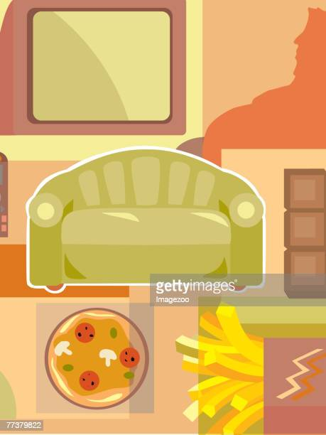 couch potato - unhealthy living stock illustrations, clip art, cartoons, & icons