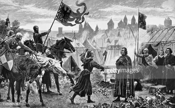 illustrazioni stock, clip art, cartoni animati e icone di tendenza di a count brings the news of his election as german king to count rudolf von habsburg - periodo medievale
