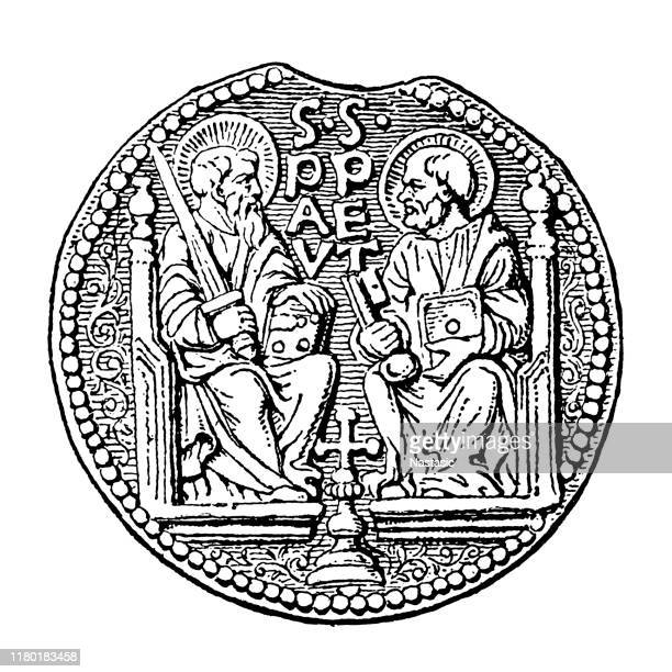 counterfeit lead seal of pope paul i - territorial animal stock illustrations, clip art, cartoons, & icons