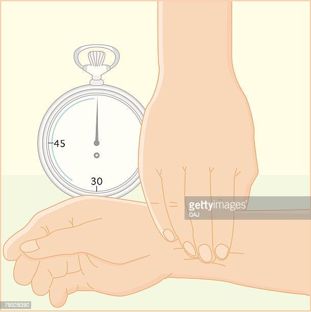 counting wrist pulse, illustration - arm in arm stock illustrations, clip art, cartoons, & icons